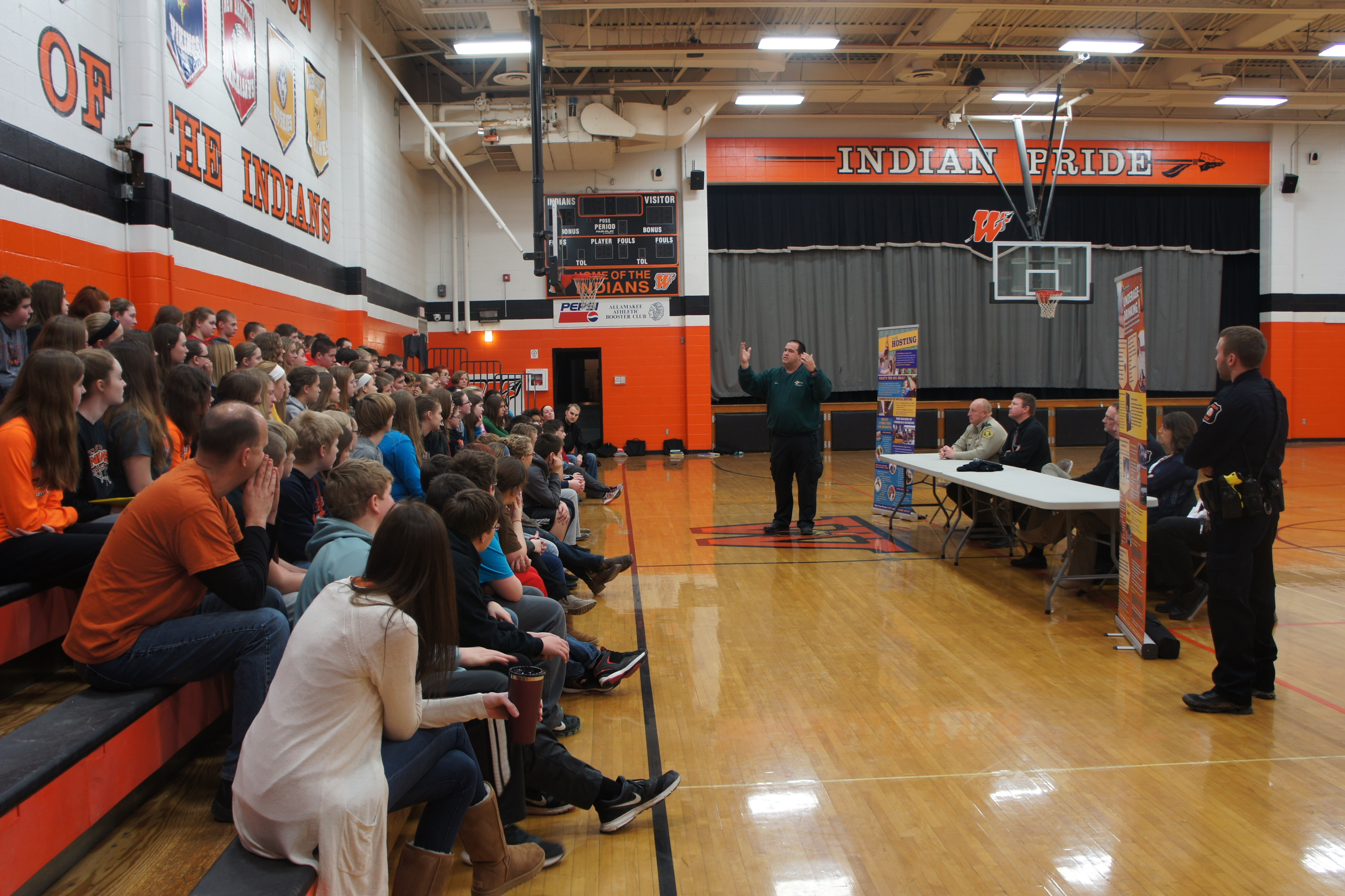 Above is a panel presentation to 8th Grade Students given by Waukon Police Department, Allamakee County Sheriff, School personnel, District Court Judge, Veterans Memorial Hospital Emergency Room Technician, Mayo Clinic Physician.